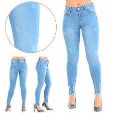 Womens Ladies Raw Edges Ripped Frayed Destroyed Stretchy Skinny Fit Denim Jeans