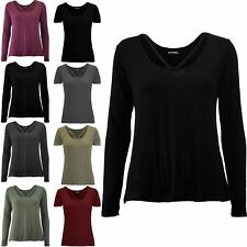 Womens V Strap Round Neckline Long Sleeve Top Ladies Baggy Basic Tee T shirt Top