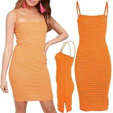 Women Square Neck Strappy Stretchy Rihanna Stripes Sleeveless Bodycon Mini Dress