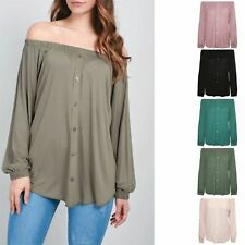 Ladies Long Sleeve Off The Shoulder Womens Elastic Front Buttons Down Bardot Top