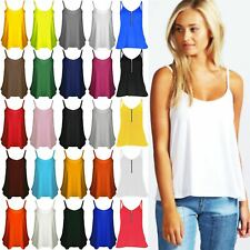 Womens Cami Sleeveless Swing Vest Strappy Plain Flared Ladies Tank Top Plus Size