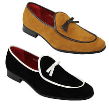Mens Black Tan Suede Leather Lined Bow Tassel Trim Retro Loafers Slip on Shoes