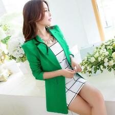 Women Blazer Notched Single Button Long Jackets Coats Slim Solid Suits Outerwear