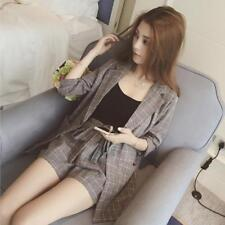 Women Blazer Fit Jackets Notched Office Open Front Single Button Pockets Outfits