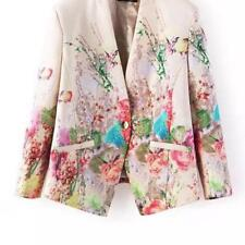 Women Blazers Lady Elegant Floral Printed Single Button Beige Autumn Winter Wear