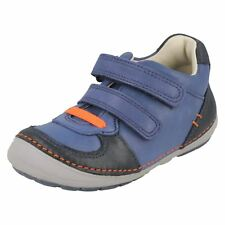 Infant Boys Clarks First Shoes Casual Hook & Loop Leather Trainers Softly Pow