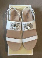 Michael Kors White Luna Flat Sandals