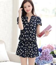 Women Jumpsuit Casual Cotton Print Buttons Elastic Waist Sashes Rompers Overalls