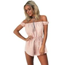 Women Jumpsuit Casual Cotton Blended Short Rompers Playsuit Sexy Off Shoulder
