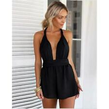 Beach Jumpsuit Women Casual Summer Sexy Cross Strap Deep V Neck Backless Rompers