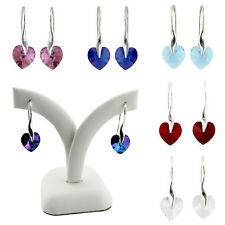925 STERLING SILVER XILION HEART CRYSTAL  EARRINGS MADE WITH SWAROVSKI ELEMENTS