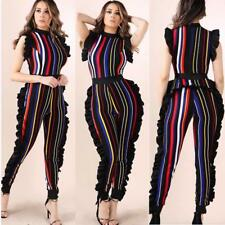 Striped Jumpsuit Sleeveless Side Pleated One Piece Fashion Overalls Sexy Rompers