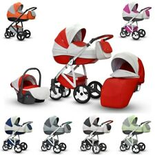 Baby Pram Pushchair ANGELO Eco-leather Travel System 3in1 4in1 Car Seat + Iso