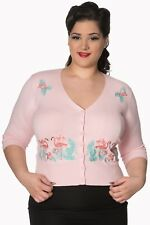 Pink Vintage Rockabilly Pin Up Floral Flamingo PLUS SIZE Cardigan Banned Apparel