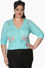 Blue Vintage Rockabilly Pin Up Floral Flamingo PLUS SIZE Cardigan Banned Apparel