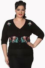 Vintage Rockabilly Pin Up Floral Flamingo PLUS SIZE Cardigan By Banned Apparel