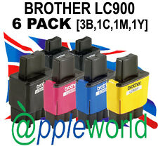 Pack de 6 LC900 Compatible Cartuchos Tinta (3 x bk, 1x C, M&Y )— NO Brother OEM