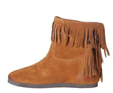 TWIN SET Stivali Bassi Camoscio Cuoio Frange Brown Suede Ankle Boots 30mm CS8TAW