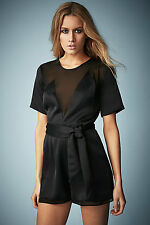 KATE MOSS FOR TOPSHOP BLACK SATIN SHEER BOW PLAYSUIT UK 8 EU 36 BNWT LAST ONE!!!