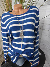 Sheego pull pullover Taille 40/42 - 56/58 blanc bleu (258) NEUF