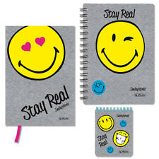 Herlitz SmileyWorld Spiral-Notizblock Notizbuch kariert emoji Grau
