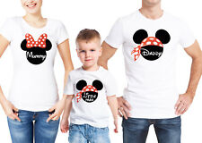 Mickey Mouse inspired family matching white T-shirts with custom text.