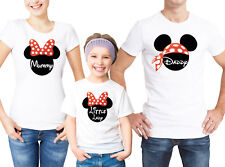 Mickey Mouse family white T-shirts set with custom text. Daddy Mummy little lady