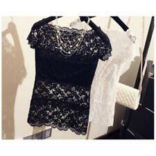 Women Tops Blusa Feminina Lace Sexy Vest T Shirt Camisoles Pierced Hollow-out