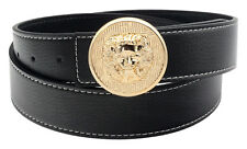 Mens Leather Belt Lion Buckle Reversible Designer Jeans Waist Strap New EB2