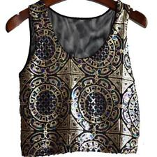 Sleeveless Vest New Vintage Cropped Tank Tops Sexy Women Sequins Mesh Patchwork