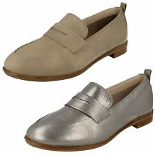 Ladies Clarks Smart Small Block Heel Slip On Soft Leather Loafers Alania Belle