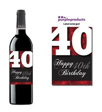 Red Happy 40th Birthday Glossy Wine & Champagne Bottle Gift Present Label