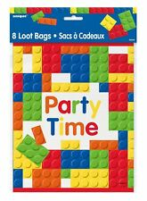 Building Blocks Novelty Fancy Birthday Party Decoration Time Bags Pack of 8