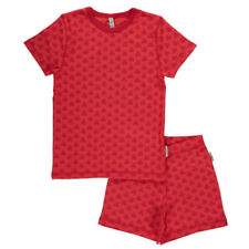 Maxomorra ~ Red mono robot organic summer short pyjamas | 2 3 4 5 6 7 8 9 10