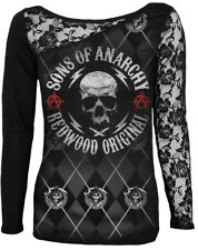 OFFICIAL LICENSED SPIRAL SONS OF ANARCHY-REDWOOD ORIGINAL Long Sleeved Lace/Top