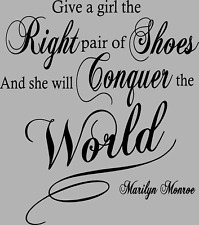 Lounge Vinyl Wall Art Quote Give a girl the right pair of shoes Marilyn Monroe