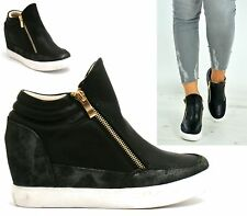 Womens Fashion Wedge High Top Trainers Hi Top Sneakers Lady Casual Shoes Size 3-