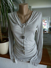 chillytime haut en viscose taille 34 - 36 manches longues Clair Gris Ton NEUF