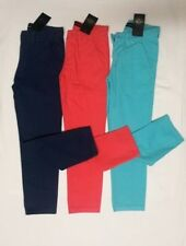 NEW Boys Summer Trousers Cotton Chinos Navy Blue Red Age 6 to 13 Years Holiday