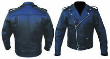MENS PERFECTO BRANDO BLACK COWHIDE MILLED LEATHER MOTORCYCLE JACKET  S TO 7XL
