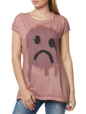 NUOVO tigha Top Donna Maglietta O collo Dropout Smiley WSN 102986 fucsia rosa