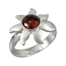 schmuck-michel ANILLO SOL PLATA 925 Granate 1,0 CT - TALLA 50-65 SELECCIONABLE