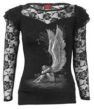 SPIRAL DIRECT ENSLAVED ANGEL Lace Layered Long Sleeve Top/Wings/Goth/Darkwear