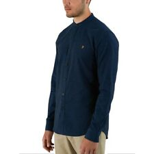 Farah Steen Grandad Collar Long Sleeve Shirt True Blue