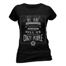 Official Supernatural Crazy People T Shirt Fitted Dean & Sam Winchester Brothers