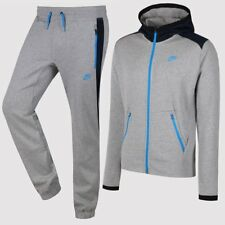 Nike Hybrid Men's Full Tracksuit Grey/Blue Full Zip Hooded Top Fleece 677837