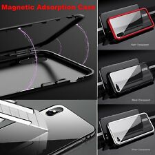 Metal Magnetic Bumper Frame with Tempered Glass Case Cover for iphone X 7 8 Plus