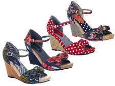 Ruby Shoo Molly Fabric Wedge Sandals UK 3-8 Red Spot Blue Floral Jungle Coral