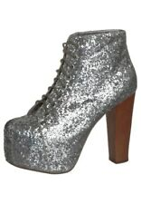 NEW LADIES JEFFREY CAMPBELL LITA SILVER GLITTER DISCO SHOE BOOTS HEELS SZ 3 - 8