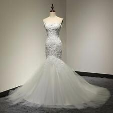 Bridal Gown Sweetheart Beaded Mermaid Lace Up Tulle Wedding Dress Off Shoulder